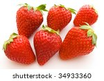 six strawberries on white background - stock photo