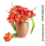 red tulips in clay vase on...   Shutterstock . vector #349338635