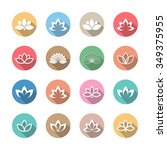 lotus icons with long shadow. | Shutterstock .eps vector #349375955