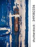 weathered wooden door located... | Shutterstock . vector #349382336