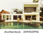 luxury villa with swimming pool   Shutterstock . vector #349403996