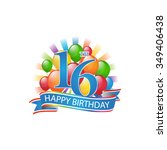 16th colorful happy birthday... | Shutterstock .eps vector #349406438