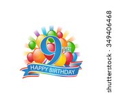 9th colorful happy birthday... | Shutterstock .eps vector #349406468