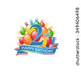 2nd colorful happy birthday...   Shutterstock .eps vector #349406498