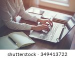 businesswoman typing on laptop... | Shutterstock . vector #349413722
