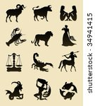 set of black zodiac astrology... | Shutterstock .eps vector #34941415