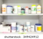 blur background drug shelves in ... | Shutterstock . vector #349424912