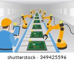 robot hands and conveyor belt ... | Shutterstock .eps vector #349425596