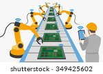 robotic hands and conveyor belt ... | Shutterstock .eps vector #349425602