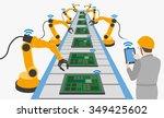 robotic hands and conveyor belt ... | Shutterstock .eps vector #349425602