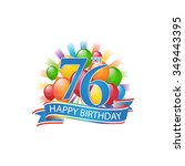 76th colorful happy birthday...   Shutterstock .eps vector #349443395