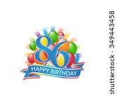 86th colorful happy birthday...   Shutterstock .eps vector #349443458