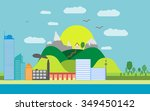 summer cityscape of beautiful... | Shutterstock .eps vector #349450142
