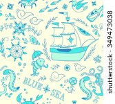 sea adventure. seamless pattern | Shutterstock .eps vector #349473038