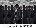 mysterious man making a silence ... | Shutterstock . vector #349474982
