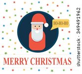 santa claus in blue circle on... | Shutterstock .eps vector #349491962