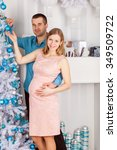 young man and pregnant woman... | Shutterstock . vector #349509722