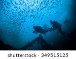 underwater blue sea and scuba... | Shutterstock . vector #349515125