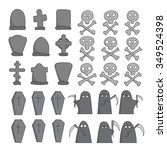 vector hand drawn graveyard... | Shutterstock .eps vector #349524398