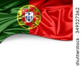 portugal  flag of silk with... | Shutterstock . vector #349527362