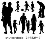 A set of parents and children silhouettes. Vector illustration. - stock vector