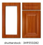 Stock photo wooden kitchen cabinet set a cupboard cover frame and drawer cover isolated on a white 349553282