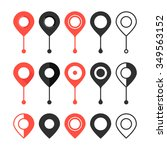 set of red and black map pin.... | Shutterstock .eps vector #349563152