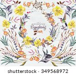 watercolor  flower's  frame for ... | Shutterstock . vector #349568972