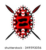 shield and crossed spears in... | Shutterstock .eps vector #349593056