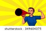 woman say in mouthpiece pop art  | Shutterstock .eps vector #349604375