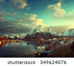 snow in reine village  lofoten... | Shutterstock . vector #349624076