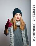 blonde girl points finger at... | Shutterstock . vector #349626596