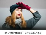 blond girl looks into the... | Shutterstock . vector #349631468