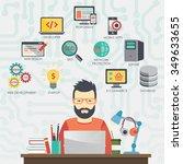 man programmer is working... | Shutterstock .eps vector #349633655