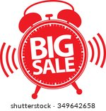 big sale alarm clock red label  ... | Shutterstock .eps vector #349642658