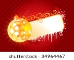 Christmas Frame / red and gold / vector /  with copy space - stock vector