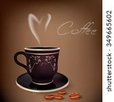 realistic black cup of coffee... | Shutterstock .eps vector #349665602