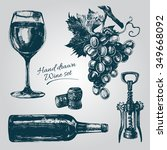 hand drawn wine elements... | Shutterstock .eps vector #349668092