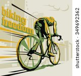 biking illustration. layered... | Shutterstock .eps vector #349692362