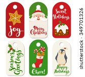 six christmas vector labels... | Shutterstock .eps vector #349701326
