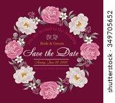 flower wedding invitation card  ... | Shutterstock .eps vector #349705652