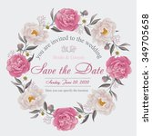 flower wedding invitation card  ... | Shutterstock .eps vector #349705658