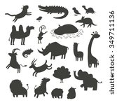 africa animals silhouettes... | Shutterstock .eps vector #349711136