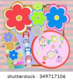 birthday party elements with... | Shutterstock .eps vector #349717106