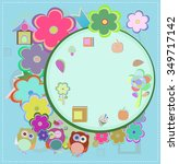 background with owl and flowers.... | Shutterstock .eps vector #349717142