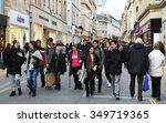 bath   dec 9  people walk along ... | Shutterstock . vector #349719365