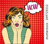 pop art surprised woman with... | Shutterstock .eps vector #349725212