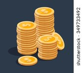 gold stack of dollar coins.... | Shutterstock .eps vector #349733492
