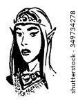 elven princess ink drawing | Shutterstock .eps vector #349734278