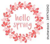 hello spring pink watercolor... | Shutterstock . vector #349742042